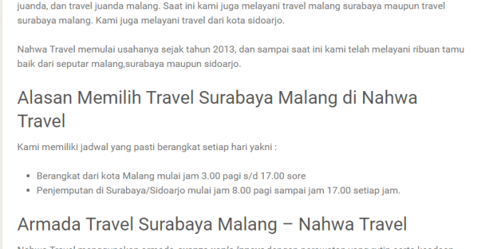 Travel Malang Juanda Pilih Nahwa Travel, Bukan yang Lain